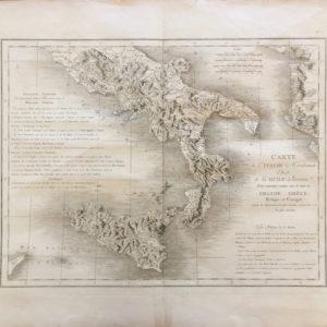 Carte de l'Italie Meridionale et de la Sicile Ancienne; Pays autrefois connus sous de nom de Grande Grece - Saint Non
