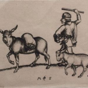 Passante con il suo mulo ed il suo asino - Martin Shongauer