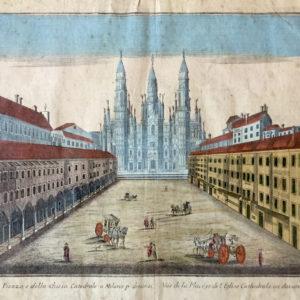 Veduta della Piazza e della Chiesa Catedrale a Milano p dinanzi. Vùe de la Place, et de l'Eglise Cathedrale au davant a Milano - Remondini