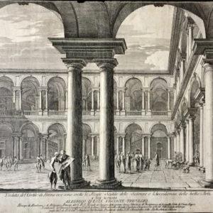 Veduta del cortile di Brera ove sono erette le Regie Scuole delle Scienze a l'Accademia delle Belle Arti - Aspari Domenico