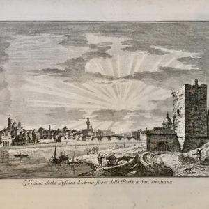 Veduta della Pescaia d'Arno fuori della Porta a San Frediano - Zocchi G.