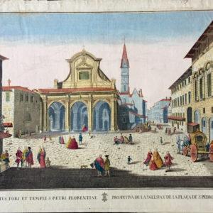 Prospectus Fori et Templi S. Petri Florentiae. Prospetiva de la Yglesia y de la Plaza de S. Pedro a Florencia. - Remondini
