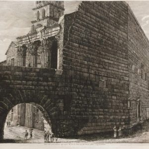 Veduta dalla parte posteriore degl'avanzi del Foro di Nerva da altri Erario Publico. In oggi Arco di Pantani. - Rossini Luigi