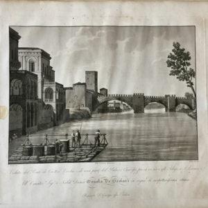 Veduta del Ponte di Castel Vecchio e di una parte del Palazzo Canossa, presa in riva all'Adige a San Lorenzo - Bennassuti
