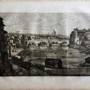 Veduta dell'Antico Ponte Janiculense restaurato da Sisto IV - Rossini Luigi